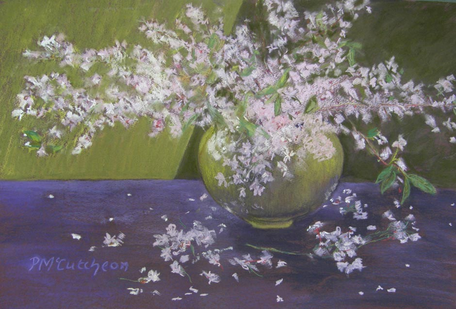 Delicate Blossoms in Lime Vase